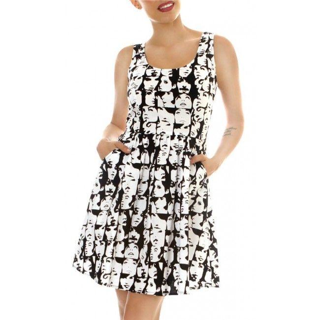 Faces Dress .   Gorgeous 100% cotton dress with pockets!   Folter-famous-faces-plus