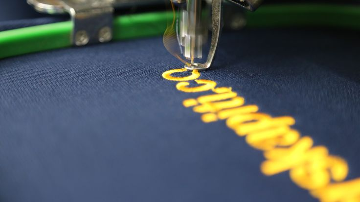 embroidery being stitched onto garment #embroidery get your embroidery done today www.kapinua.co.nz