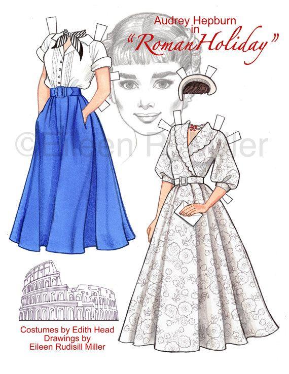 Audrey Hepburn en Vacaciones en Roma muñeca de papel