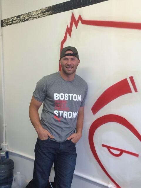 Julian Edelman sporting Boston Strong Puma tee 100% of profit goes to @theonefund