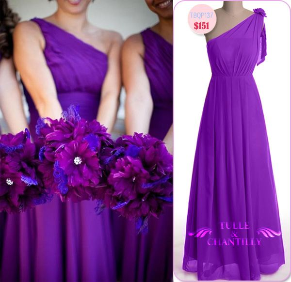 One-shoulder Chiffon Floor Length Bright Purple Bridesmaid Dresses TBQP137