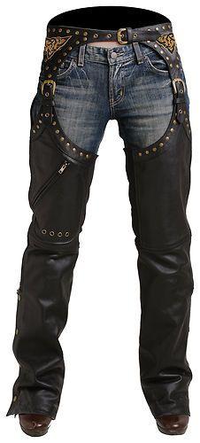 New Pokerun Womens Marilyn 2 0 Leather Chaps Black Large LG   eBay