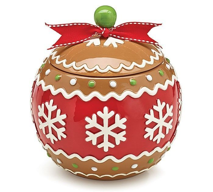 Gingerbread Joy Round Cookie Jar -Christmas Home Festive Holiday Party Gift #BurtonBurton