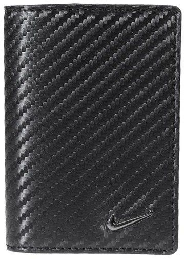 A carbon-fiber texture adds techy appeal to a sharp card case formed from soft leather. Interior slip pockets