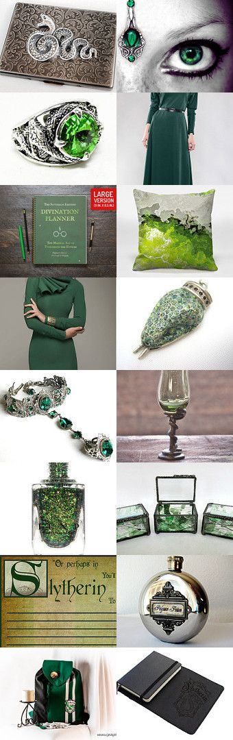 "Slytherin by Viktoria Schuster on Etsy--Pinned with TreasuryPin.com  ""Or perhaps in Slytherin You'll make your real friends, Those cunning folks use any means To achieve their ends.""  antique dungeon fantasy founder geek green harry potter hogwarts jkrowling magic parseltongue polyjuice salazar serpent silver slytherin snake wizardry"
