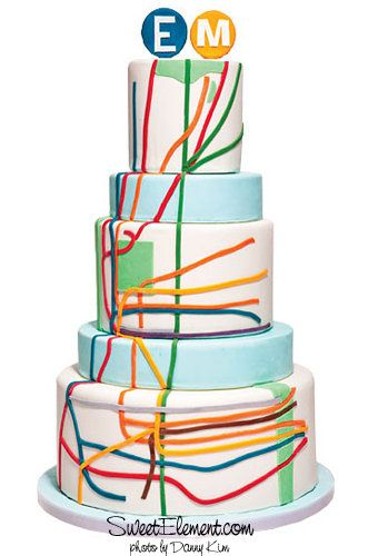 White Tiered Cake with NY Subway Lines Design