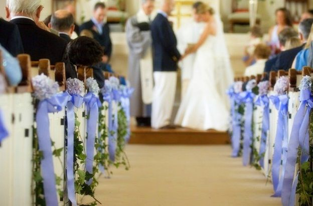 wedding arrangements for church | Church Wedding Decorating Pictures Photograph | Church-pew-w