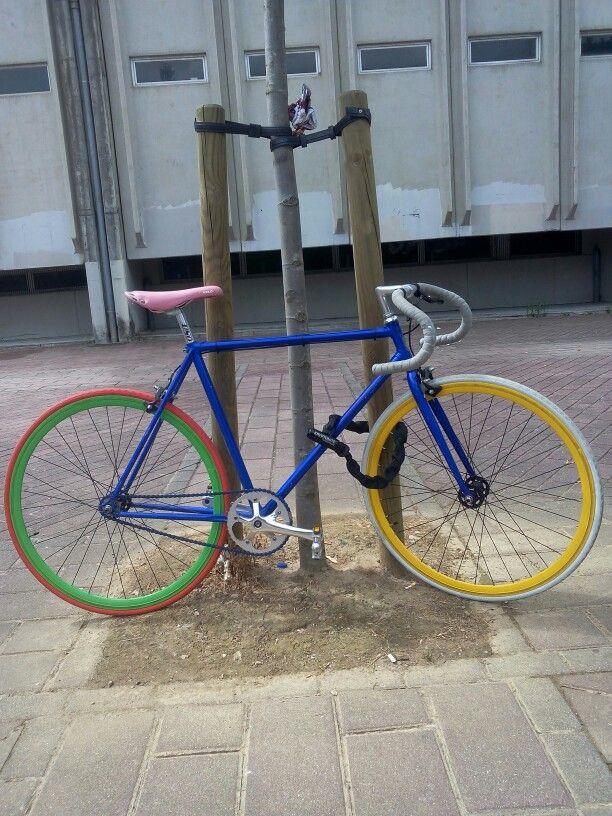 Multicolor fixie bike