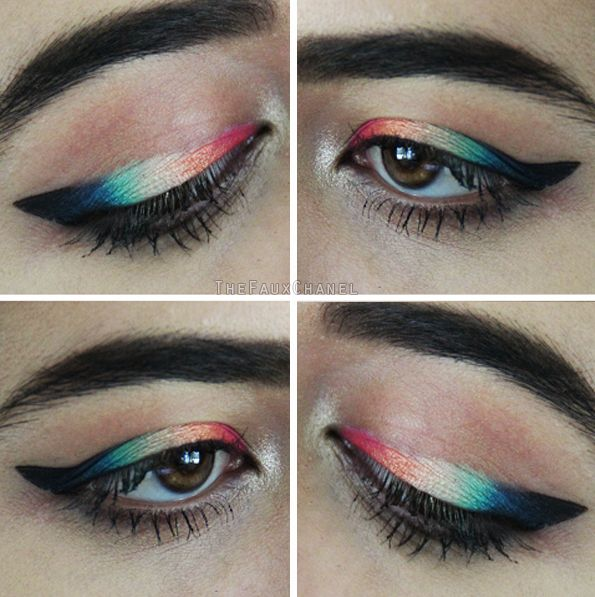 RAINBOW MAKEUP EYELINER!! Makeup Tutorial: https://youtu.be/NjMhUN140iI  1 OUT OF 5 CREATIVE EYELINER IDEAS, LOOKS, AND STYLES! Source: http://catherineannbarron.com/creative-eyeliner-ideas-looks-and-styles-makeup-eyeliner-tutorial/