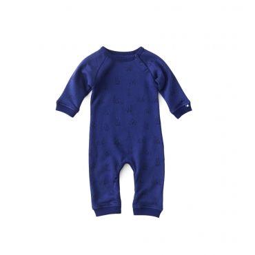Blauw kruippakje met grafische bomenprint in sweater-kwaliteit - Mister Monkey and Misses Butterfly - Little Label - AW16 - Boys - Girls - Babysuit - AlloverPrint - Trees