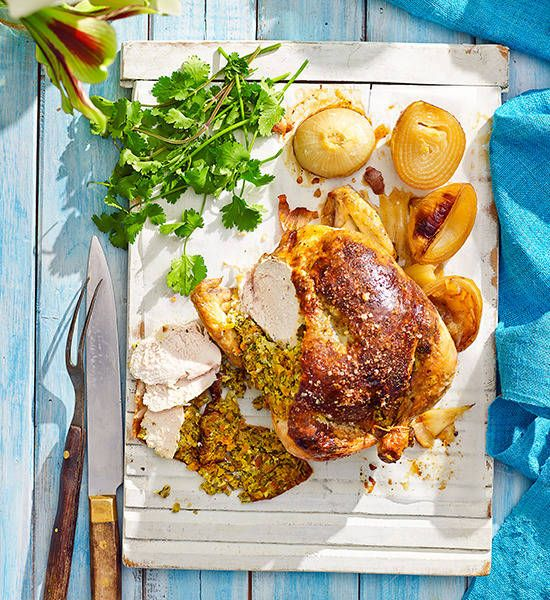 Whole chicken with apricot, pistachio and feta stuffing: Struggle to get a whole chicken and sides in your oven? Fret no more – it will barbecue beautifully.
