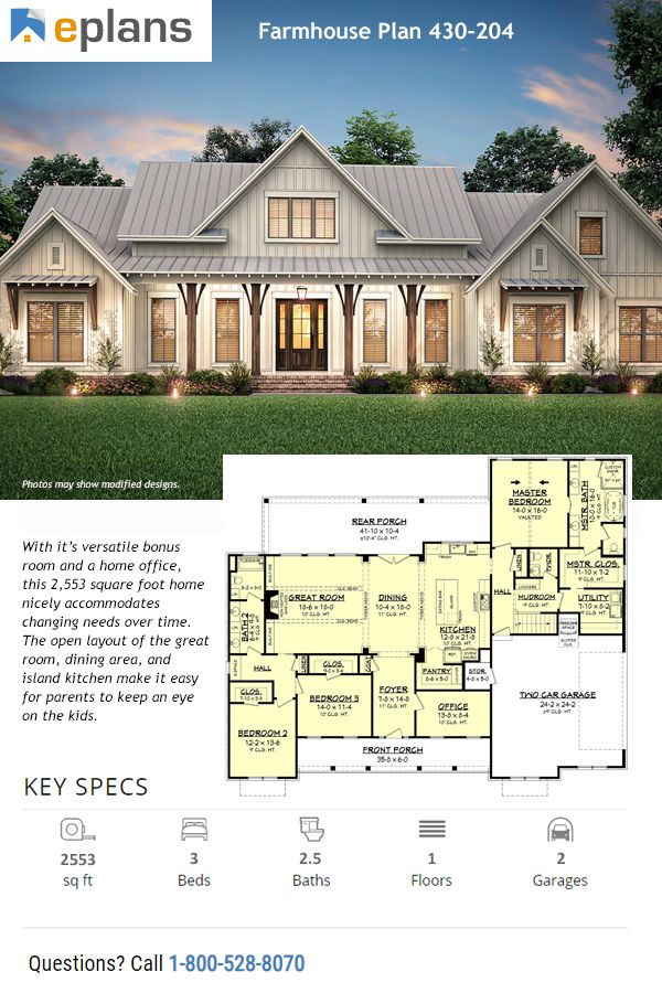 Country Farmhouse Traditional House Plan 80801 With 3 Beds 3 Baths 3 Car Garage Elevation In 2021 Modern Farmhouse Plans Farmhouse Plans Ranch Style House Plans