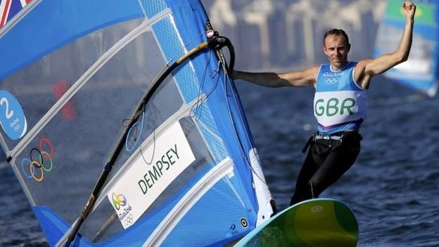 Britain's Nick Dempsey took silver in Rio to become the first male windsurfer to win three Olympic medals.  Dempsey, 36, finished second in the RS:X class, following a bronze in 2004 and silver in London four years ago.