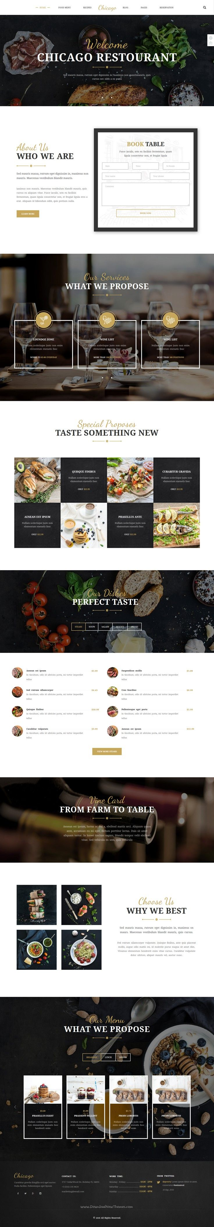 Buy Chicago Multi Purpose HTMLCSS Restaurant Template