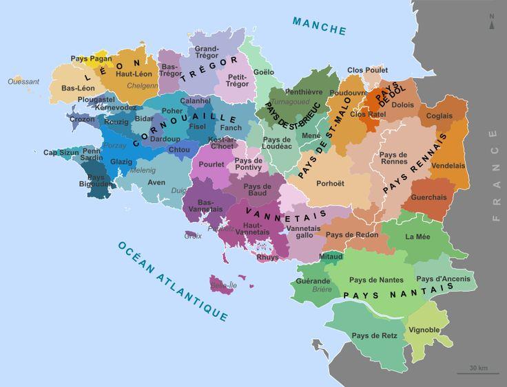 les neuf pays historiques de la Bretagne