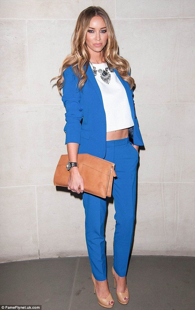 Suited and booted: Lauren Pope looked great in a blue trouser suit as she hit STK restaurant in London on Saturday night