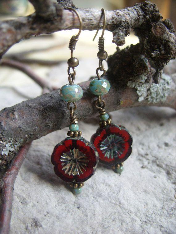 Black Cherry - Czech Glass Picasso Flower Earrings, Antique Bronze Jewelry, Boho Jewelry, Flower Earrings
