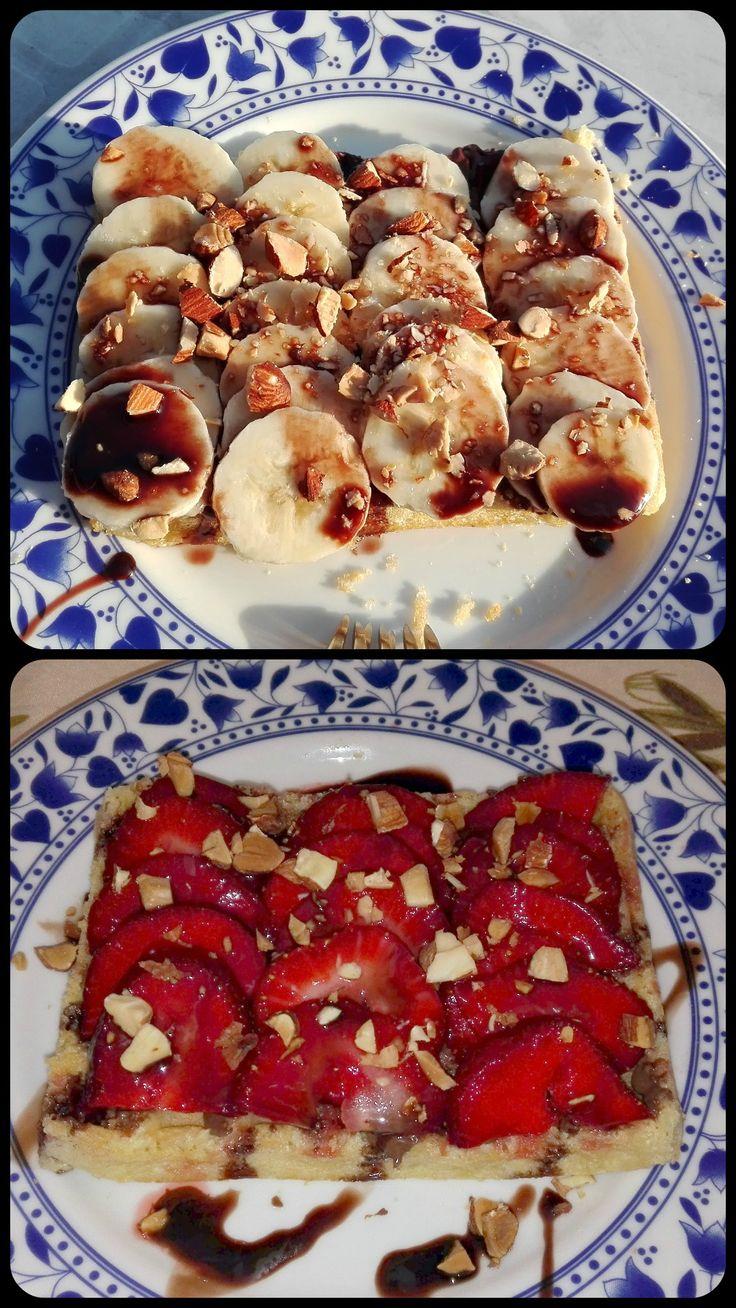 Wafel con nutella, banana o fragola, liquore al cioccolato e mandorle!