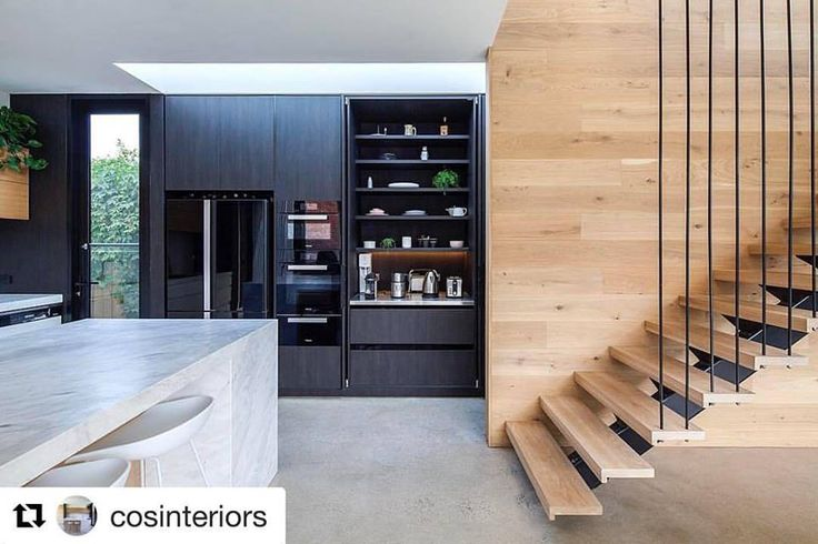 A stunning project featuring our Navurban™ Ravenswood. Repost COS Interiors Pty Ltd ・・・ Modern appliance cupboard with stainless steel bench & using Hawa Concepta pocket doors, they are not cheap but they create an amazing & functional kitchen space. Navurban Cupboards, shelving & drawers by New Age Veneers looks great with sexy black appliances architect @architects_tw build for AFC Builders LLC gorgeous Elba Marble CDK Stone