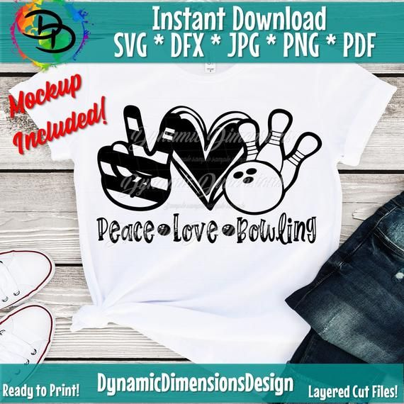 Download Peace Love Bowling svg, Bowling svg, Peace Love SVG, Heart ...