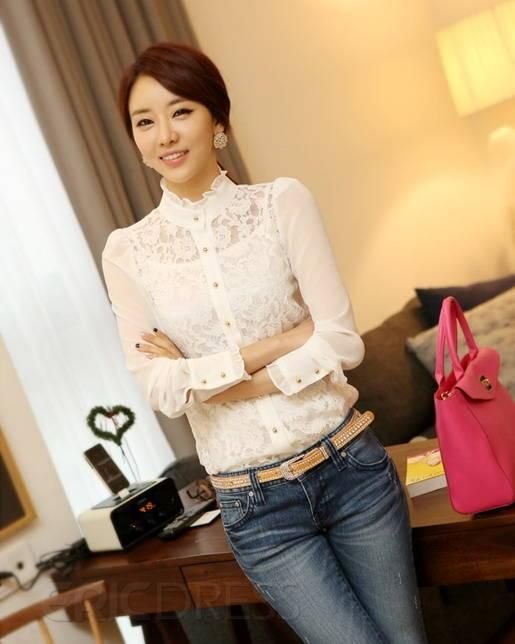 Charming New Arrival All-matched Slim Lace Blouse Lace Blouses- ericdress.com 10718406