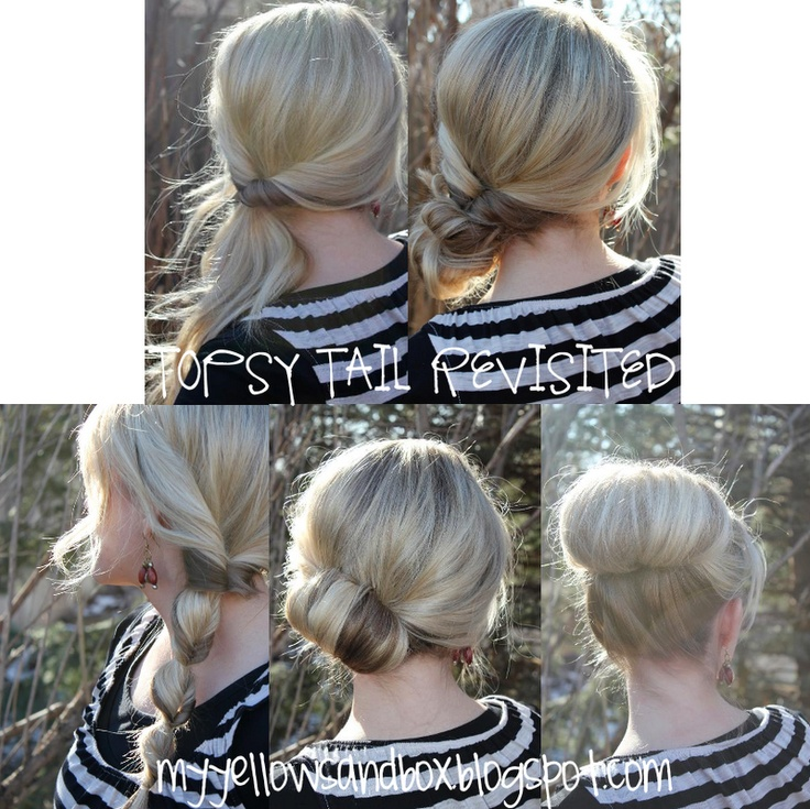 five hairstyles to do with the topsy tail!  From My Yellow Sandbox, a great hairstyle how-to blogHair Ideas, Easy Hairstyles, Hair Tutorials, High Buns, Long Hair, Topsy Tail, Hair Style, Updo, Topsytail