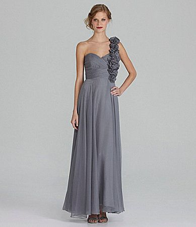 JS Collections Bridesmaid OneShoulder Chiffon Gown #Dillards