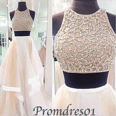#promdress01 prom dresses - 2015 elegant round neck two pieces creamy white long prom dress for teens, custom made ball gown
