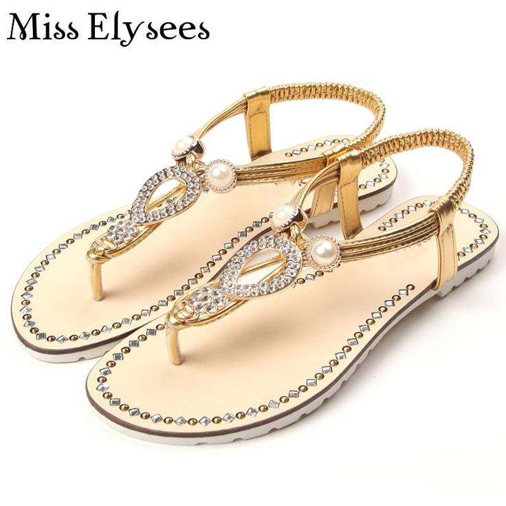 New Arrival Leisure Flat Sandals Women's Shoes 2017 Summer Fashion Rhinestone Design Flip Flops For Women Sandalias Mujer Plus40