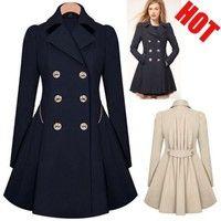 Wish | Ladies Lapel Windbreaker Long Winter Parka Coat Trench Outwear Work Jacket