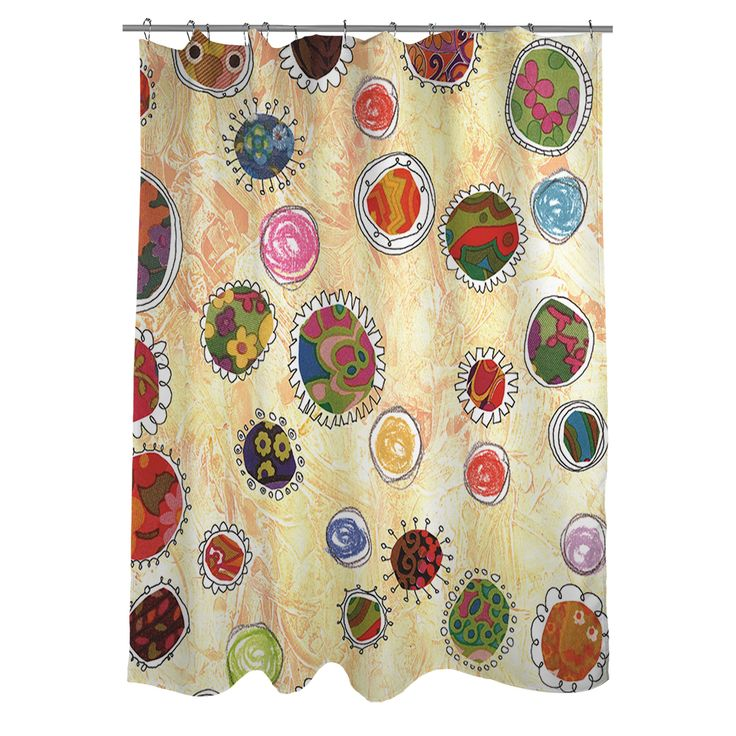 Show Off Your Inner Energy With This Fun And Flirty Thumbprintz Funky  Flowers Shower Curtain.