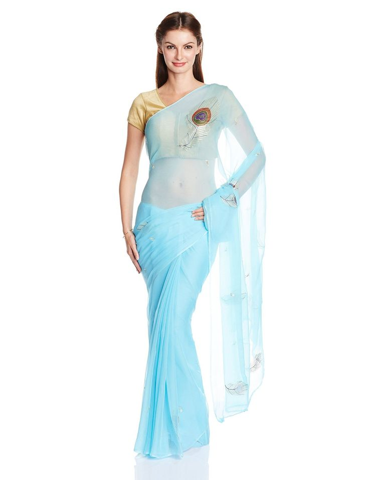 Shri Krishnam Saree with Blouse Piece (3300009166_Blue): Amazon.in: Clothing & Accessories
