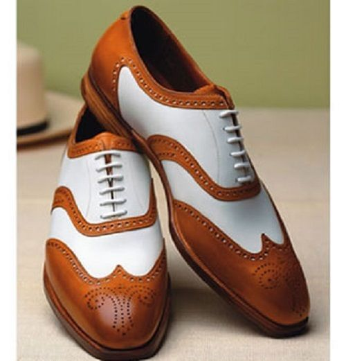 New Handmade Unique Style Brown & White Real Leather Shoes, Men leather Shoes #Handmade #DressShoes #Formal