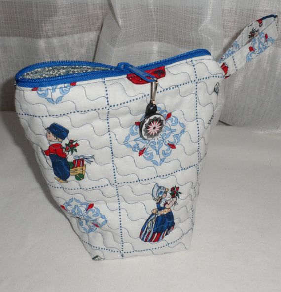 Quilted Small Wedge Zippered Cosmetic by BAGLADYFROMTHEBAY on Etsy