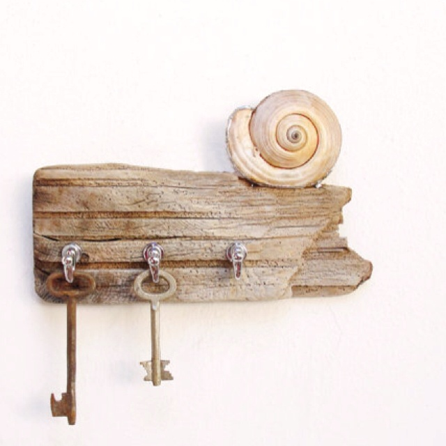 DIY key holder from a left over piece of wooden log , hooks and shell..
