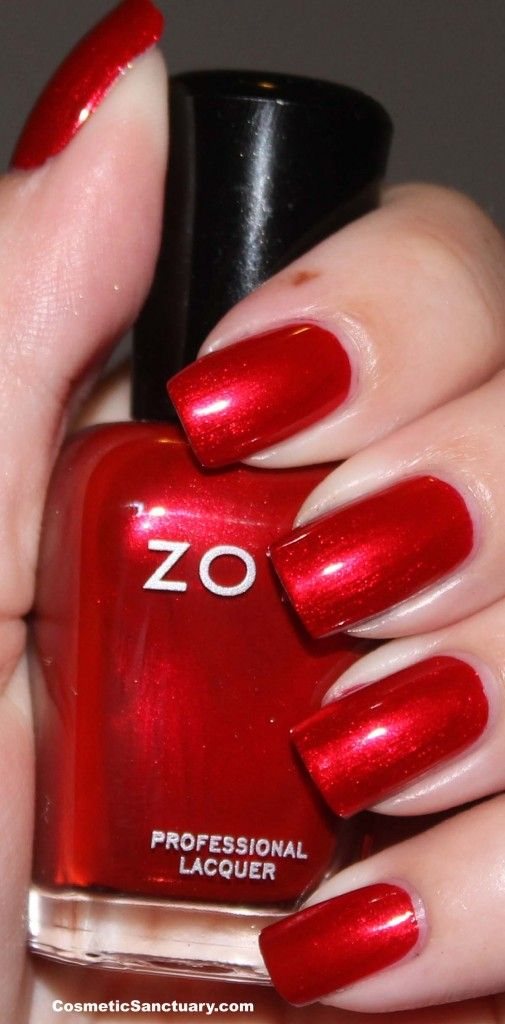 Zoya nail polish, color Elisa (intense true red with a chrome-like metallic finish) Zoya Holiday Collection 2012