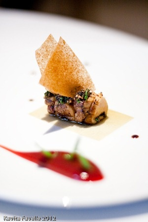 Eating at Heston Blumenthal's Fat Duck: roast foie gras, barberry, braised konbu and crab biscuit.