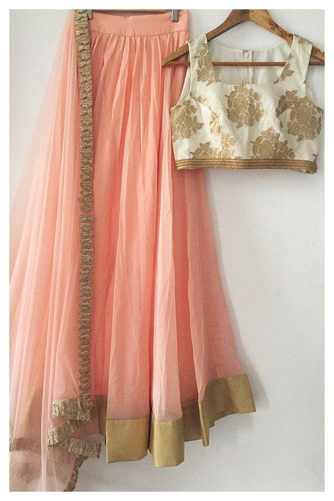 The Peach Madison Lehenga Set Pinterest: @m1ll1eJ #IndianJewelry