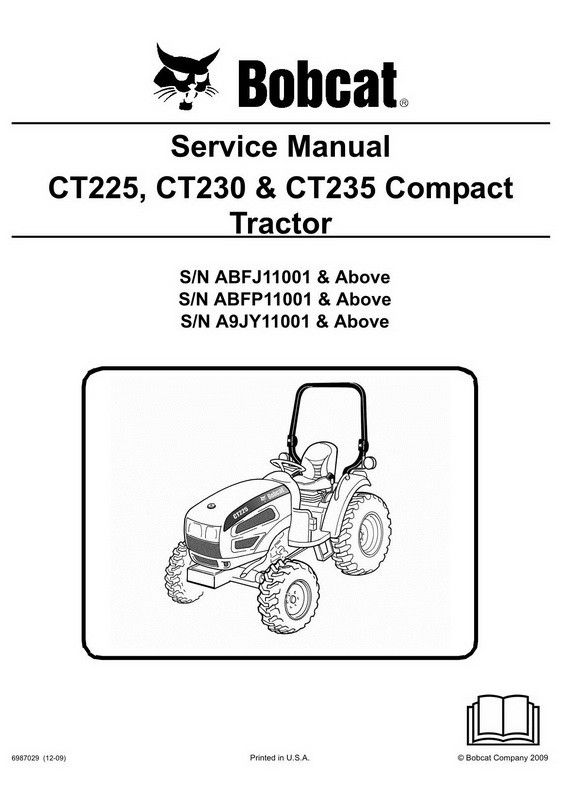 bobcat ct225, ct230 & ct235 compact tractor service manual - 6987029  (12-09) | misc | compact tractors, tractors, manual