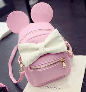 Mickey backpack Female bag Quality PU leather Women Backpack Mickey ears Sweet girl bow Travel Rucksack