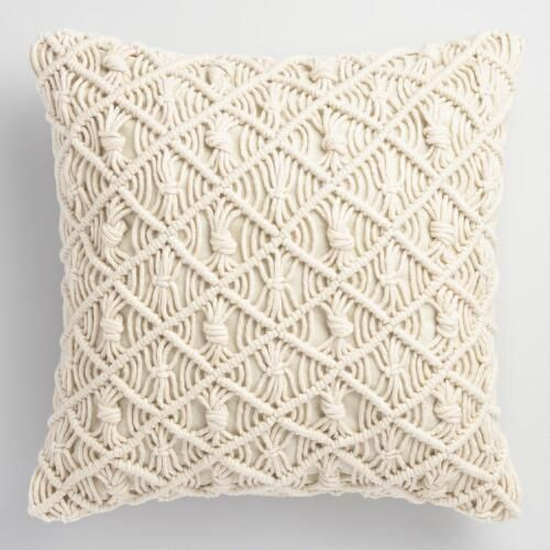 Modeled after intricate jali latticework found throughout India, our white macrame throw pillow brings classic bohemian style to your favorite indoor or outdoor spaces.