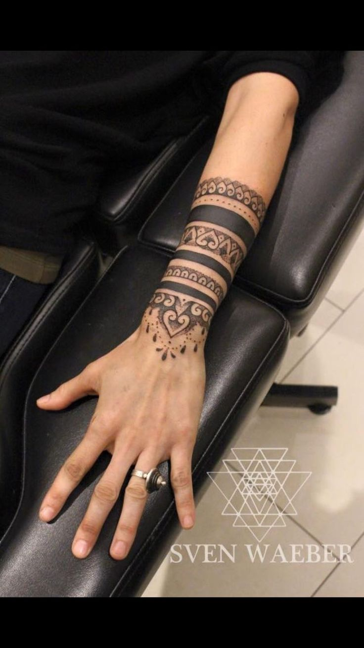 Mandala style tattoo on lower arm/wrist