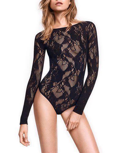 ef747eca8702e Wolford Louise Long-Sleeve Lace Bodysuit
