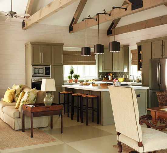 open kitchen w beams