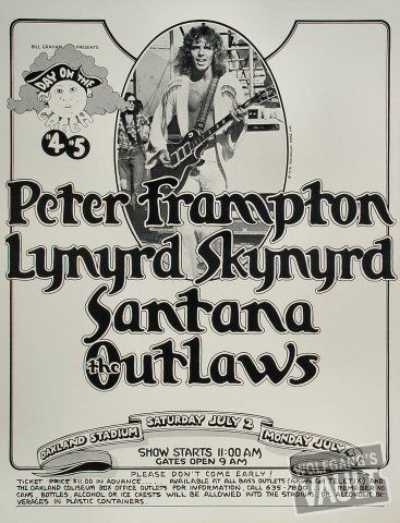 I was at this concert.  $11.00!! Peter Frampton, Lynyrd Skynyrd, Santana, Outlaws: Day on the Green, July 2 1977 Oakland Coliseum Stadium