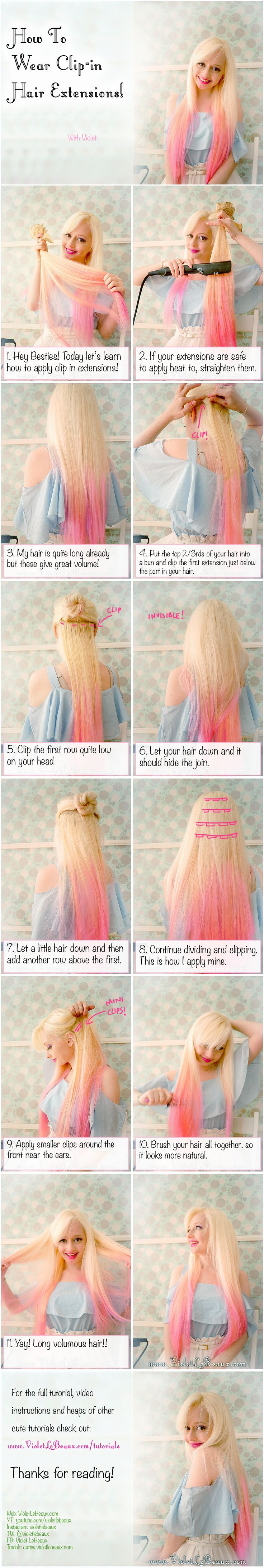 How To Wear Clip in Hair Extensions | Violet LeBeaux- Cute Free Craft Tutorials