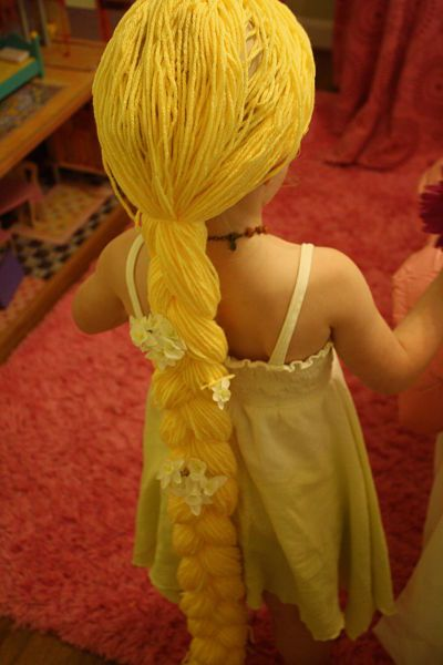 Rapunzel wig - make stocking cap, cut long (double length) strands of yarn.  Tie in middle and affix to stocking, braid hair