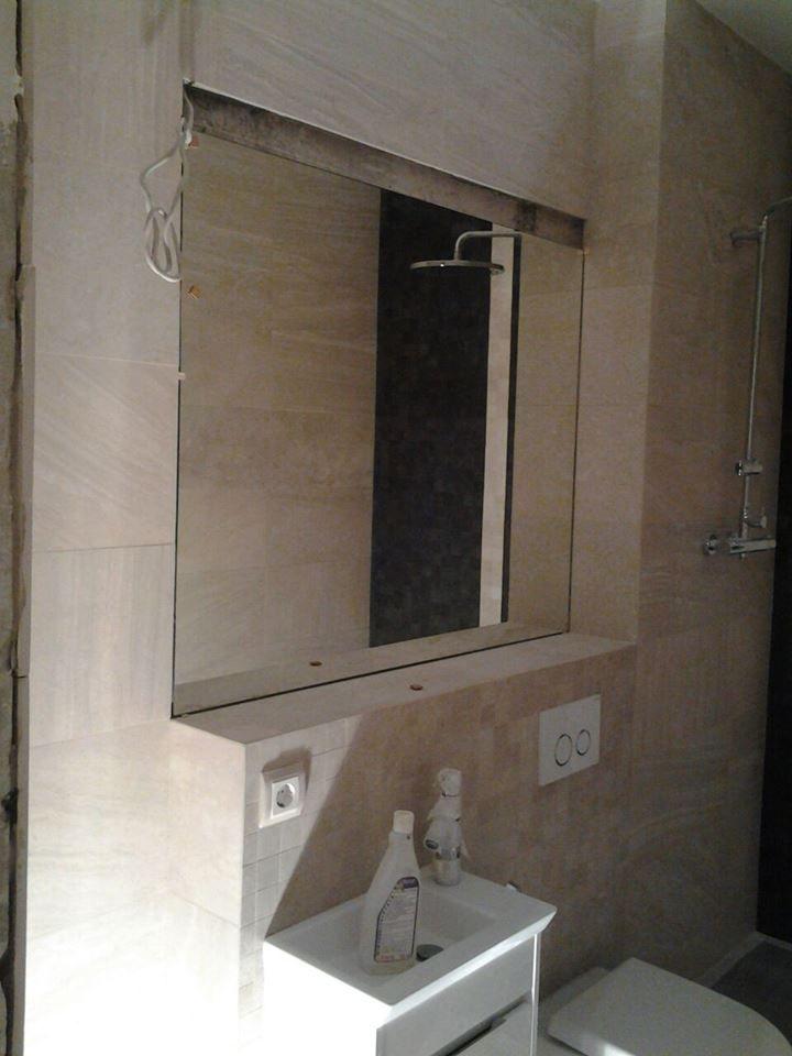 Данный проект выполнен силами нашей компании в июне 2017г. Зеркало в ванную. В проекте использовалось зеркало серебро 6мм с фацетом. Установка зеркала производилась с помощью скрытого. Проект реализован в г. Москва, ул. Фадеева , д.4а
