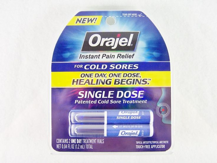 #Orajel #topical #antiseptic and #anesthetic #instant pain #relief #patented cold #sore and fever #blister #treatment with touch-free applicator, two (2) single dose vials and August 2016 expiration/use by/best before date, brand new and unused in original manufacturer's blue and clear plastic factory sealed retail protective packaging http://www.ebay.com/itm/NEW-ORAJEL-TOPICAL-COLD-SORE-TREATMENT-INSTANT-PAIN-RELIEF-2-SINGLE-DOSE-VIALS-/111427920426?pt=LH_DefaultDomain_0&hash=item19f19f222a