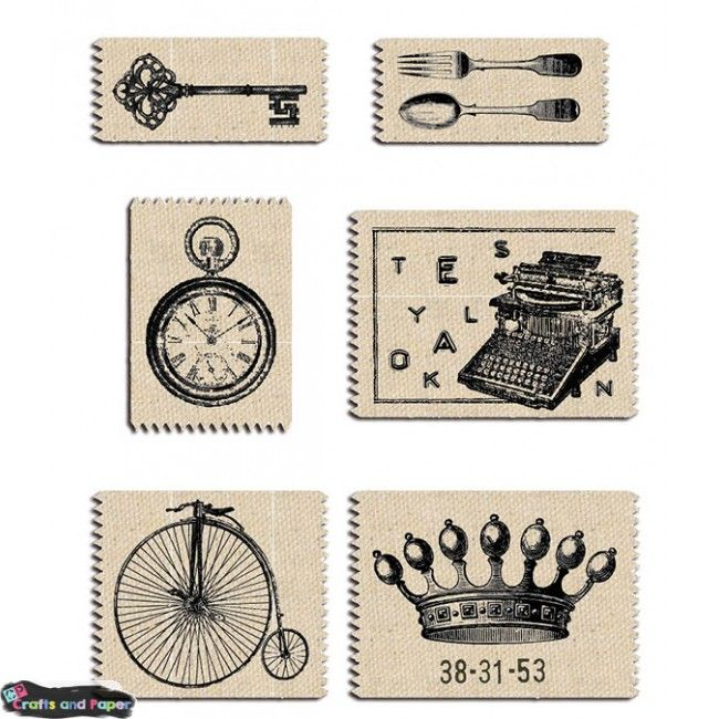 Vintage/Oldies σετ 6ετικέτα λινάτσα εμπριμέ Υλικά χειροτεχνίας, Decoupage, Scrapbooking